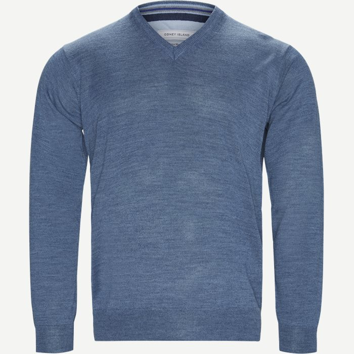 Smaralda V-Neck Striktrøje - Strik - Regular - Denim